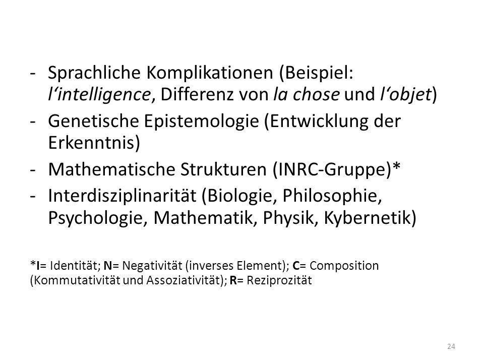 -Sprachliche Komplikationen (Beispiel: lintelligence, Differenz von la chose und lobjet) -Genetische Epistemologie (Entwicklung der Erkenntnis) -Mathe