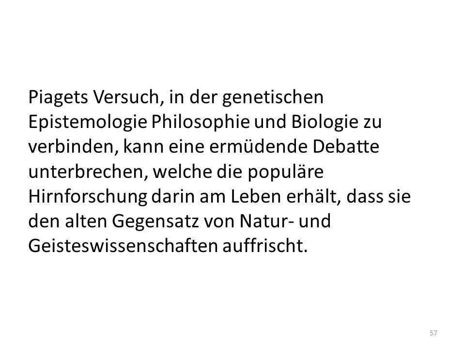 Piagets Versuch, in der genetischen Epistemologie Philosophie und Biologie zu verbinden, kann eine ermüdende Debatte unterbrechen, welche die populäre