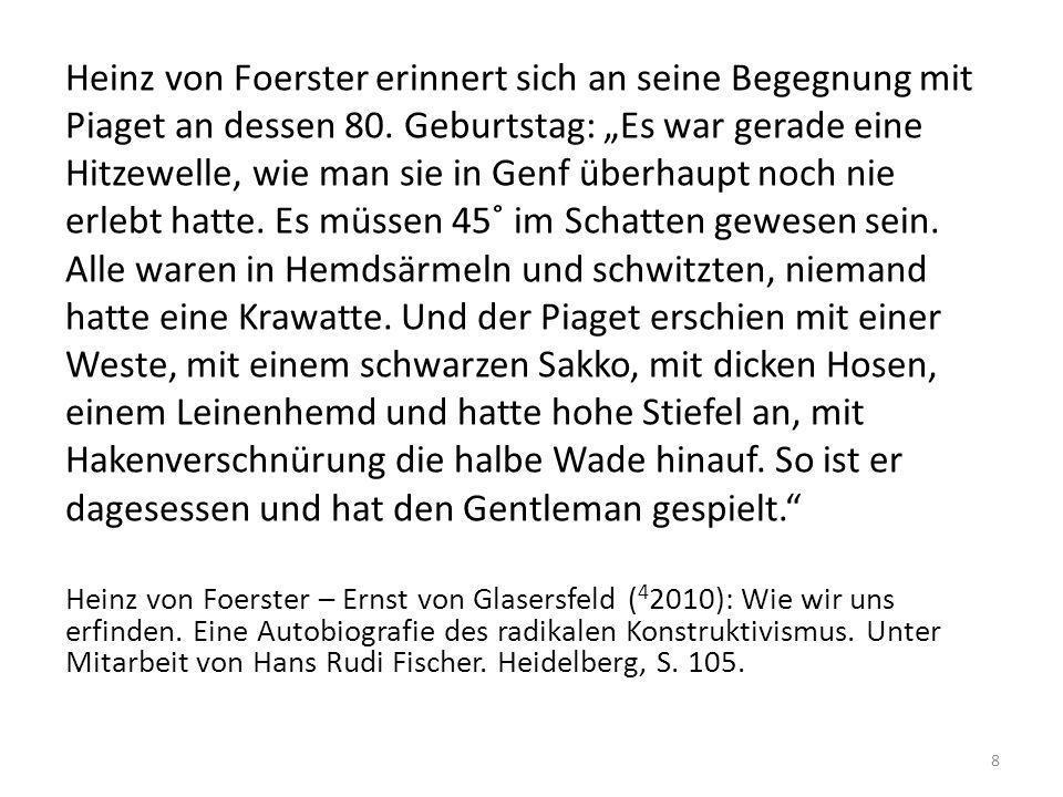 Heinz von Foerster erinnert sich an seine Begegnung mit Piaget an dessen 80. Geburtstag: Es war gerade eine Hitzewelle, wie man sie in Genf überhaupt