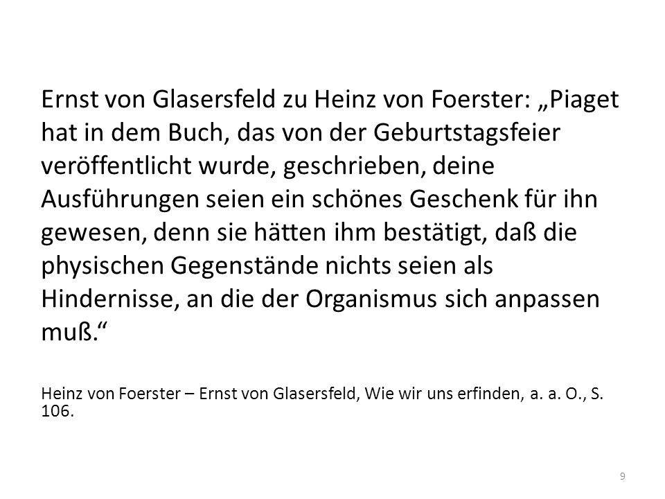Ernst von Glasersfeld zu Heinz von Foerster: Piaget hat in dem Buch, das von der Geburtstagsfeier veröffentlicht wurde, geschrieben, deine Ausführunge
