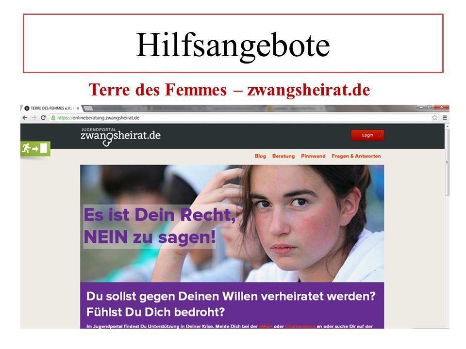 Hilfsangebote Terre des Femmes – zwangsheirat.de