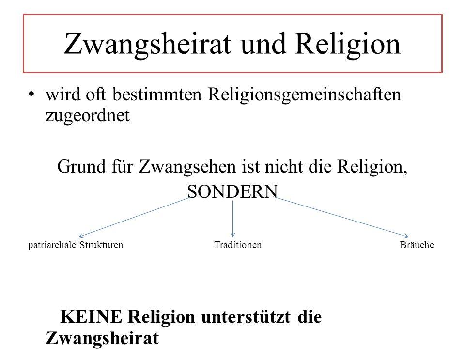Zwangsheirat und Religion wird oft bestimmten Religionsgemeinschaften zugeordnet Grund für Zwangsehen ist nicht die Religion, SONDERN patriarchale Strukturen Traditionen Bräuche KEINE Religion unterstützt die Zwangsheirat