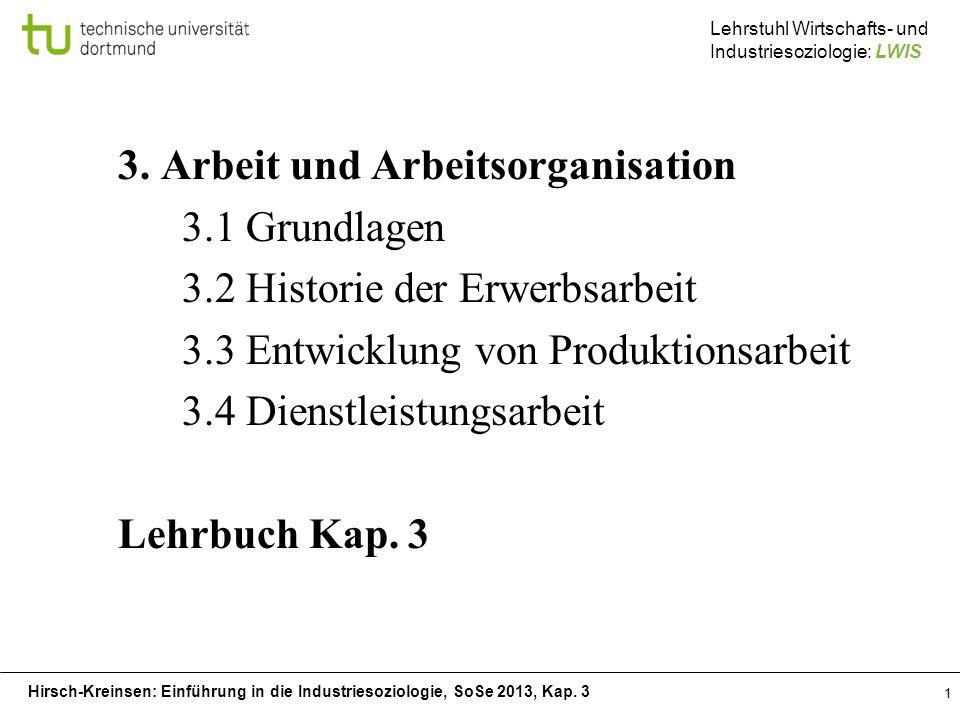 Hirsch-Kreinsen: Einführung in die Industriesoziologie, SoSe 2013, Kap. 3 Lehrstuhl Wirtschafts- und Industriesoziologie: LWIS 1 3. Arbeit und Arbeits