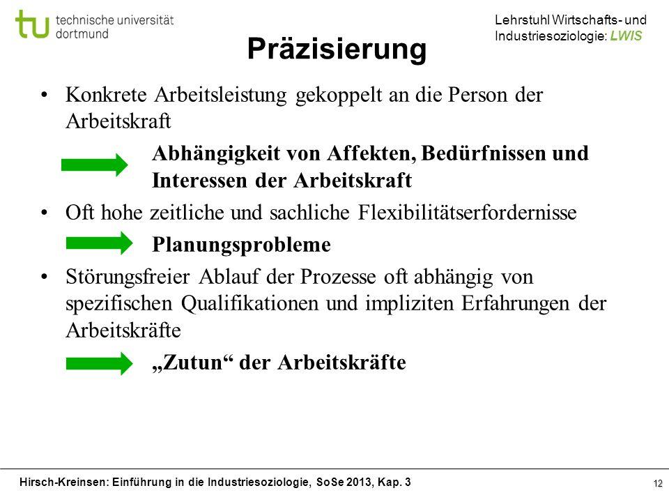 Hirsch-Kreinsen: Einführung in die Industriesoziologie, SoSe 2013, Kap. 3 Lehrstuhl Wirtschafts- und Industriesoziologie: LWIS Präzisierung Konkrete A