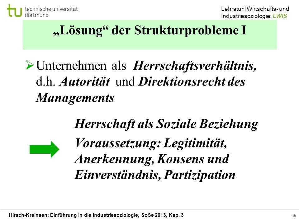 Hirsch-Kreinsen: Einführung in die Industriesoziologie, SoSe 2013, Kap. 3 Lehrstuhl Wirtschafts- und Industriesoziologie: LWIS 15 Lösung der Strukturp