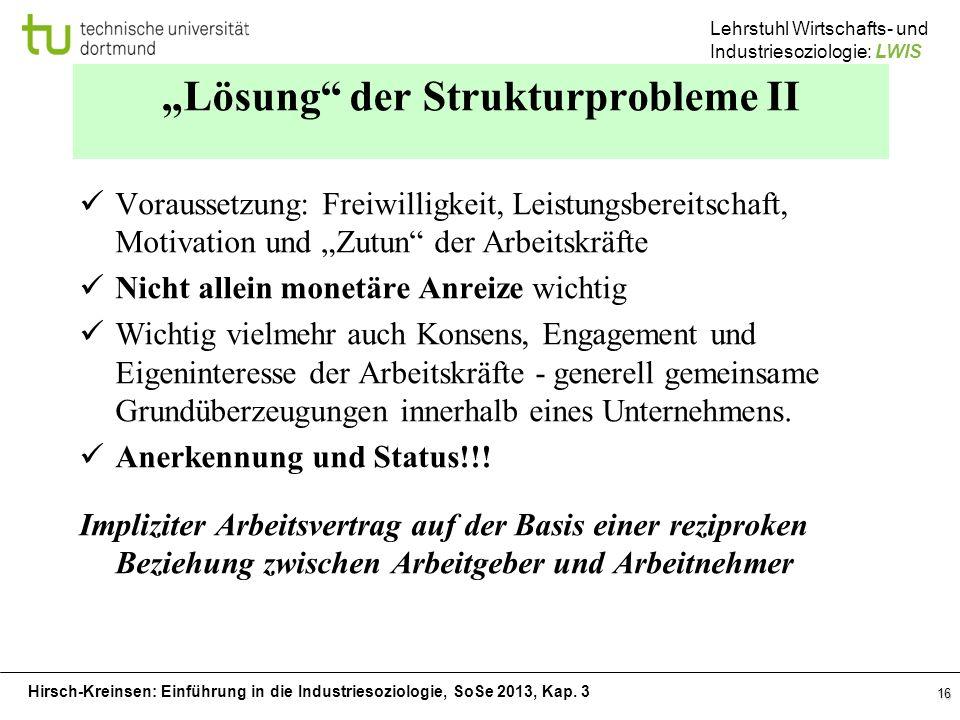 Hirsch-Kreinsen: Einführung in die Industriesoziologie, SoSe 2013, Kap. 3 Lehrstuhl Wirtschafts- und Industriesoziologie: LWIS 16 Lösung der Strukturp