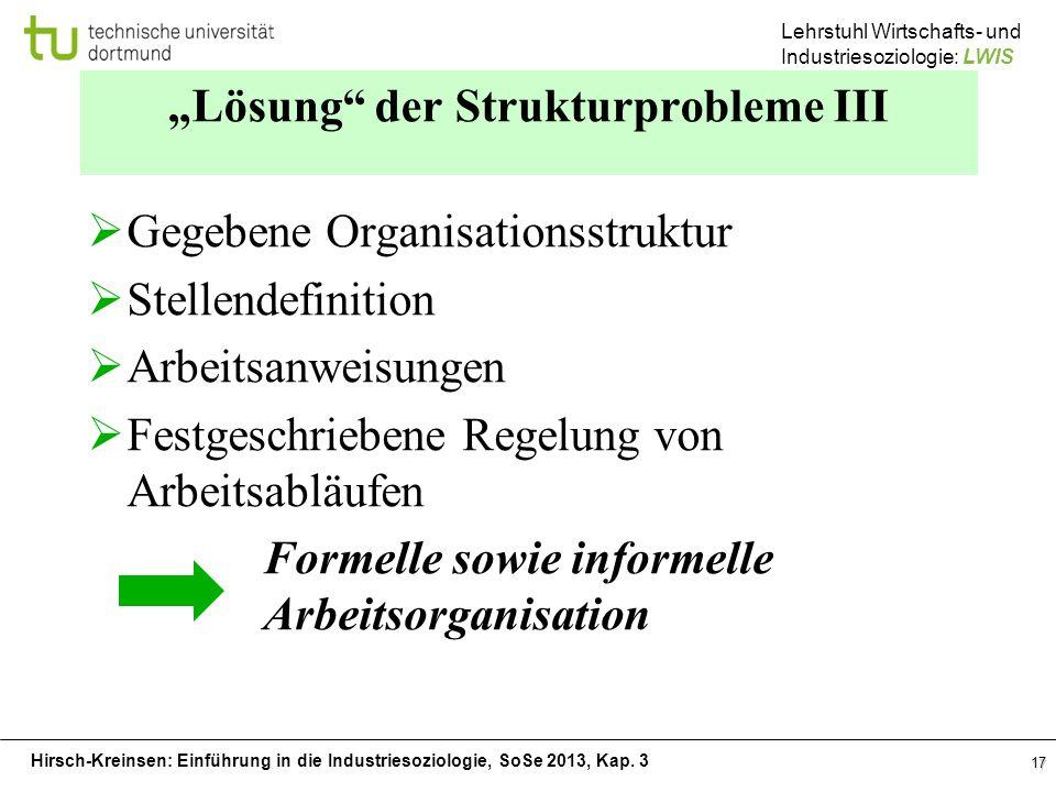 Hirsch-Kreinsen: Einführung in die Industriesoziologie, SoSe 2013, Kap. 3 Lehrstuhl Wirtschafts- und Industriesoziologie: LWIS 17 Lösung der Strukturp