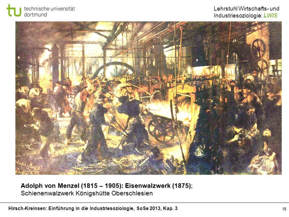 Hirsch-Kreinsen: Einführung in die Industriesoziologie, SoSe 2013, Kap. 3 Lehrstuhl Wirtschafts- und Industriesoziologie: LWIS 18 Adolph von Menzel (1