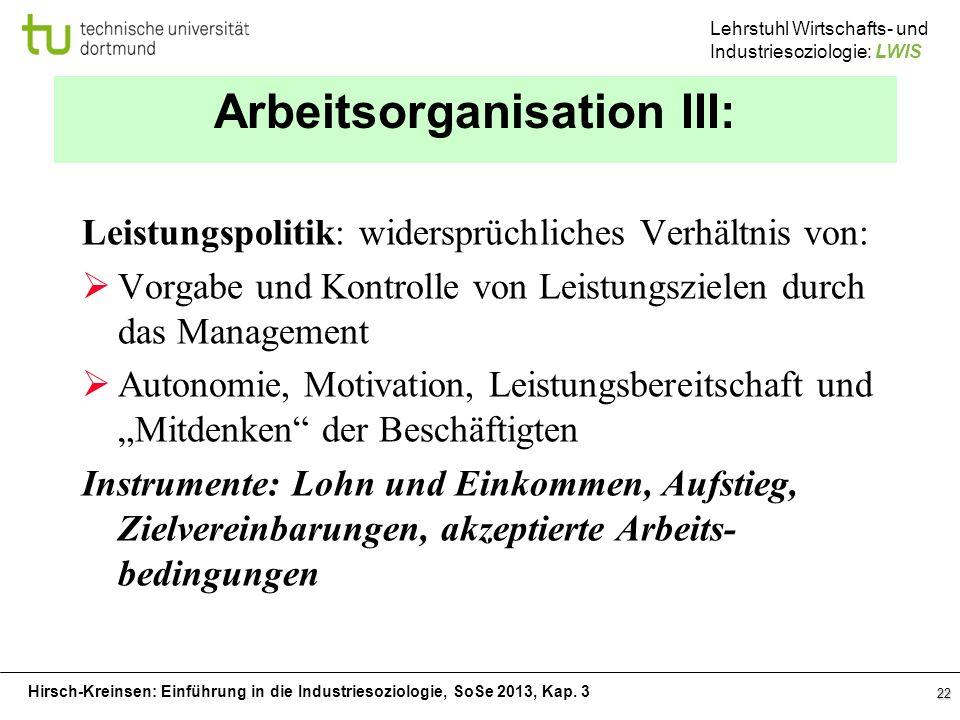 Hirsch-Kreinsen: Einführung in die Industriesoziologie, SoSe 2013, Kap. 3 Lehrstuhl Wirtschafts- und Industriesoziologie: LWIS 22 Arbeitsorganisation