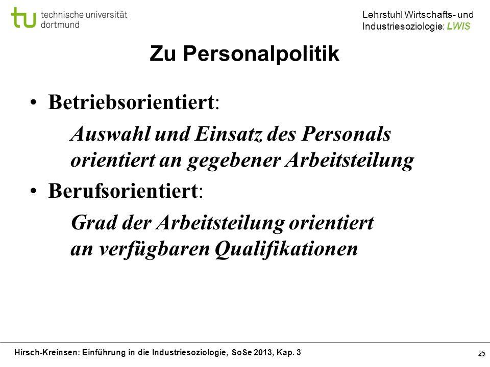 Hirsch-Kreinsen: Einführung in die Industriesoziologie, SoSe 2013, Kap. 3 Lehrstuhl Wirtschafts- und Industriesoziologie: LWIS Zu Personalpolitik Betr