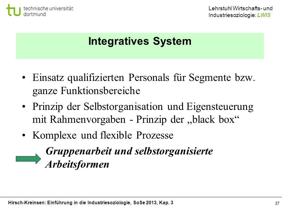 Hirsch-Kreinsen: Einführung in die Industriesoziologie, SoSe 2013, Kap. 3 Lehrstuhl Wirtschafts- und Industriesoziologie: LWIS 27 Integratives System