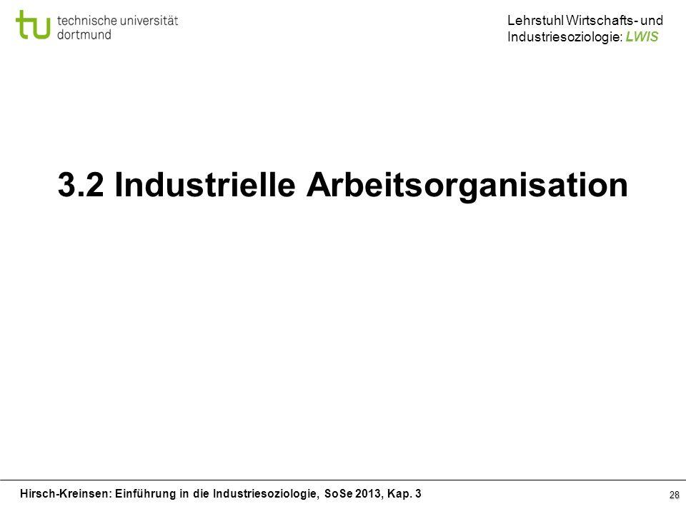 Hirsch-Kreinsen: Einführung in die Industriesoziologie, SoSe 2013, Kap. 3 Lehrstuhl Wirtschafts- und Industriesoziologie: LWIS 28 3.2 Industrielle Arb