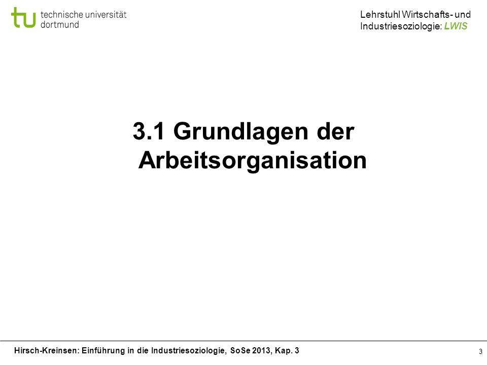 Hirsch-Kreinsen: Einführung in die Industriesoziologie, SoSe 2013, Kap. 3 Lehrstuhl Wirtschafts- und Industriesoziologie: LWIS 3 3.1 Grundlagen der Ar