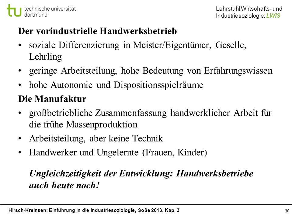 Hirsch-Kreinsen: Einführung in die Industriesoziologie, SoSe 2013, Kap. 3 Lehrstuhl Wirtschafts- und Industriesoziologie: LWIS Der vorindustrielle Han
