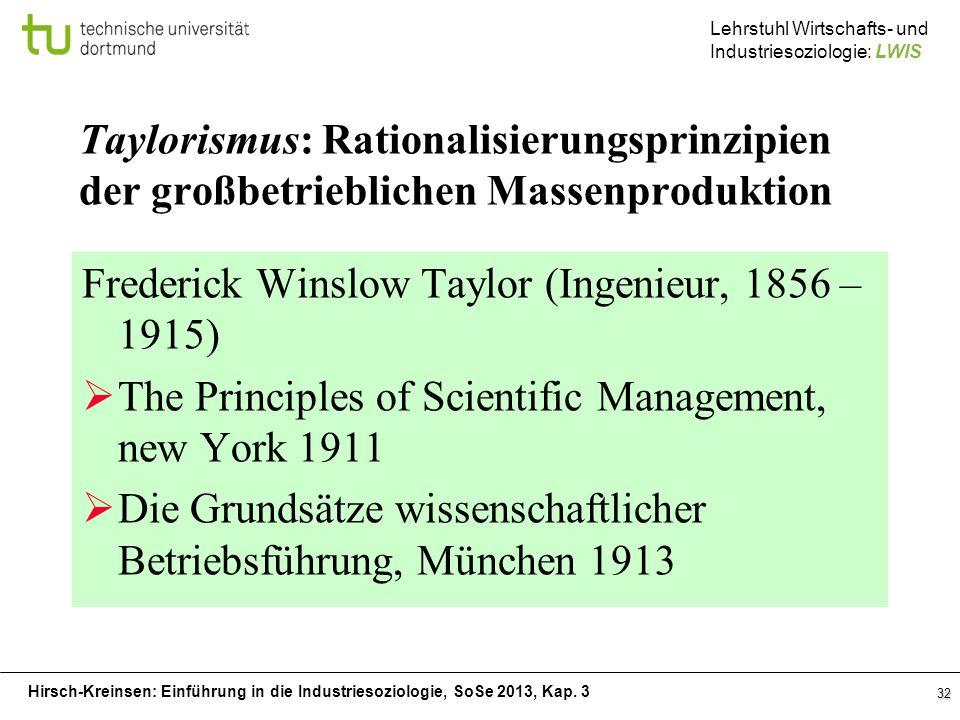 Hirsch-Kreinsen: Einführung in die Industriesoziologie, SoSe 2013, Kap. 3 Lehrstuhl Wirtschafts- und Industriesoziologie: LWIS 32 Taylorismus: Rationa