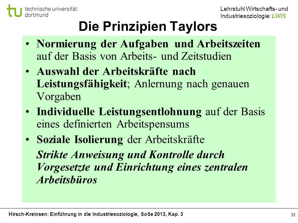 Hirsch-Kreinsen: Einführung in die Industriesoziologie, SoSe 2013, Kap. 3 Lehrstuhl Wirtschafts- und Industriesoziologie: LWIS 33 Die Prinzipien Taylo