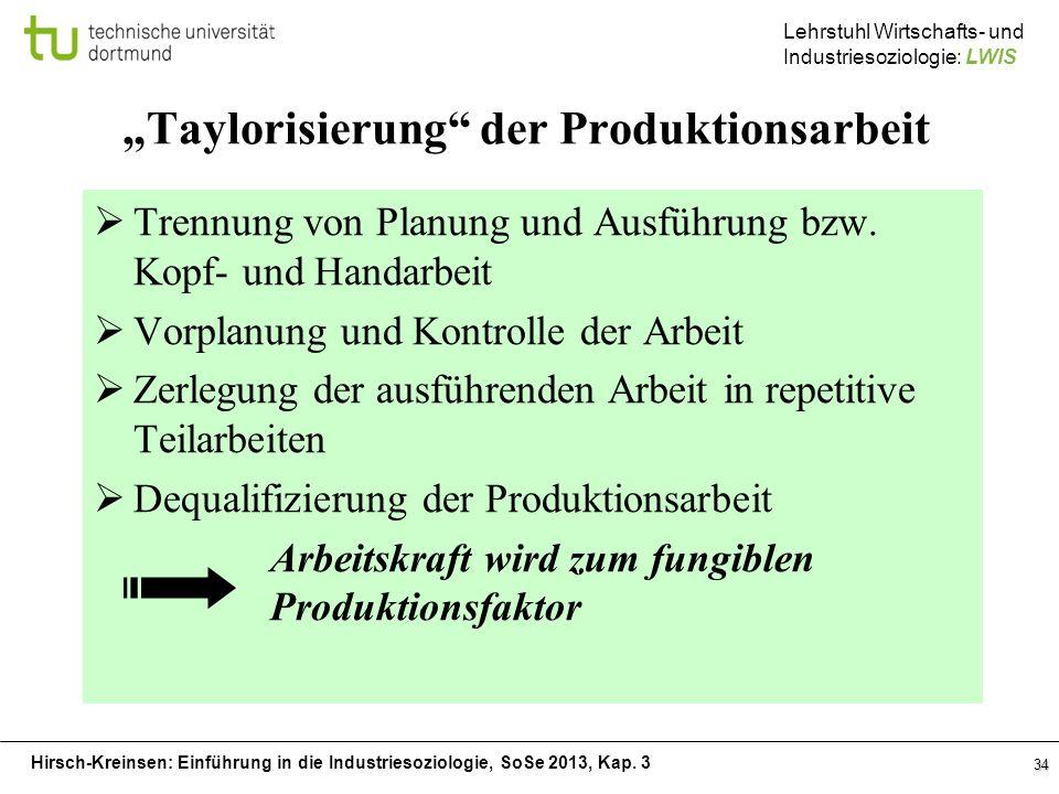 Hirsch-Kreinsen: Einführung in die Industriesoziologie, SoSe 2013, Kap. 3 Lehrstuhl Wirtschafts- und Industriesoziologie: LWIS 34 Taylorisierung der P