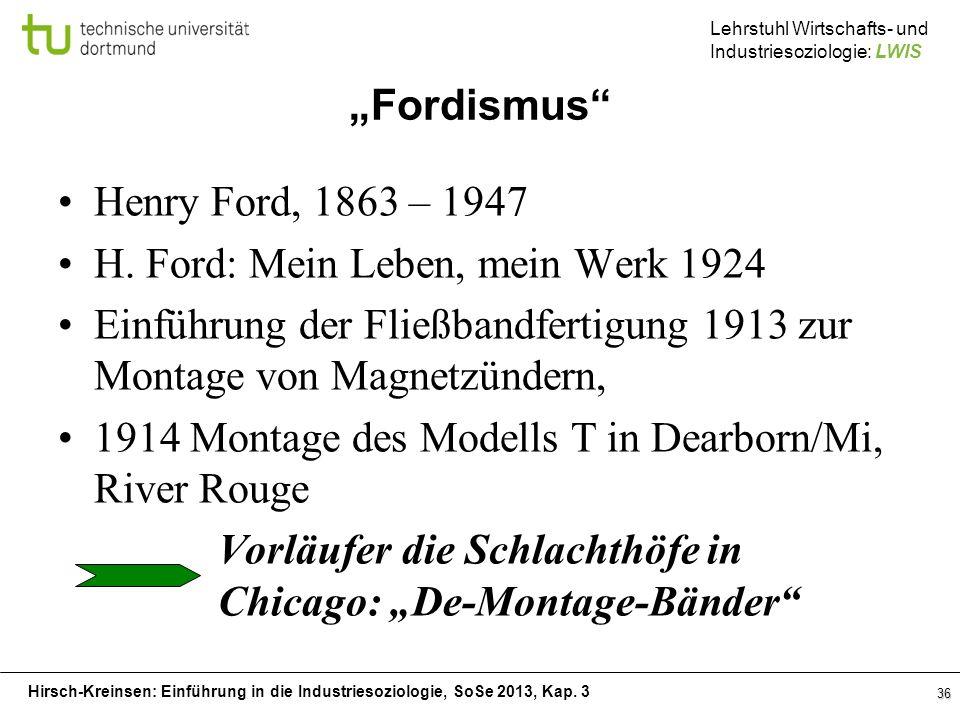 Hirsch-Kreinsen: Einführung in die Industriesoziologie, SoSe 2013, Kap. 3 Lehrstuhl Wirtschafts- und Industriesoziologie: LWIS Fordismus Henry Ford, 1