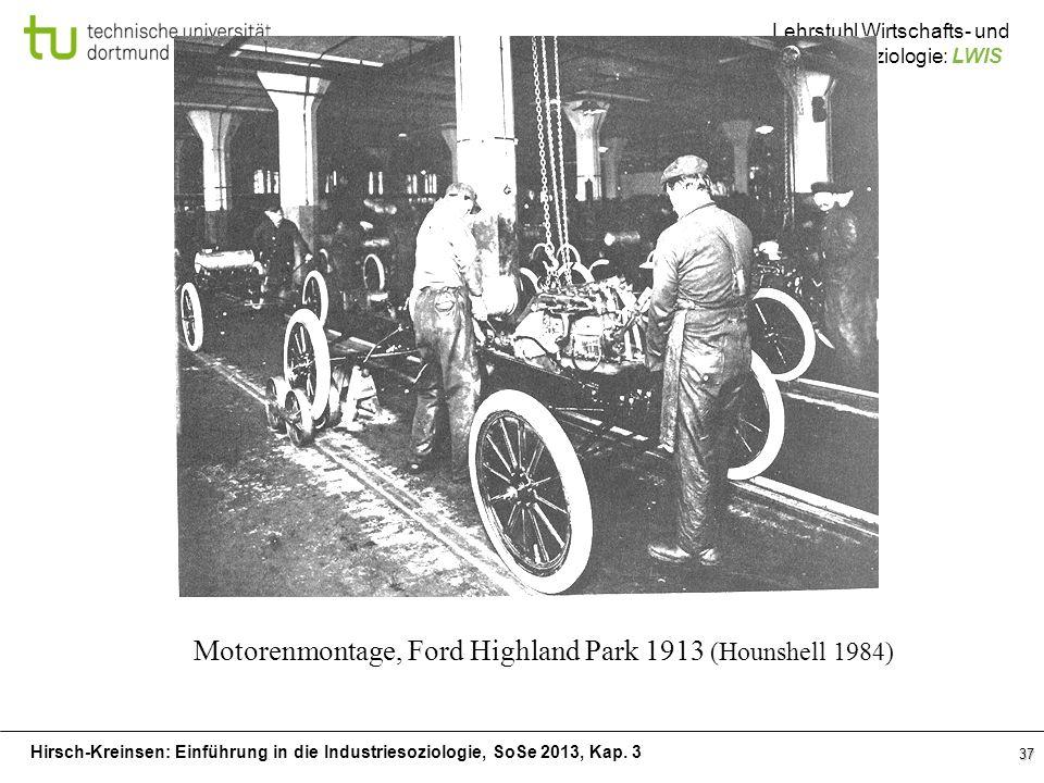 Hirsch-Kreinsen: Einführung in die Industriesoziologie, SoSe 2013, Kap. 3 Lehrstuhl Wirtschafts- und Industriesoziologie: LWIS 37 Motorenmontage, Ford