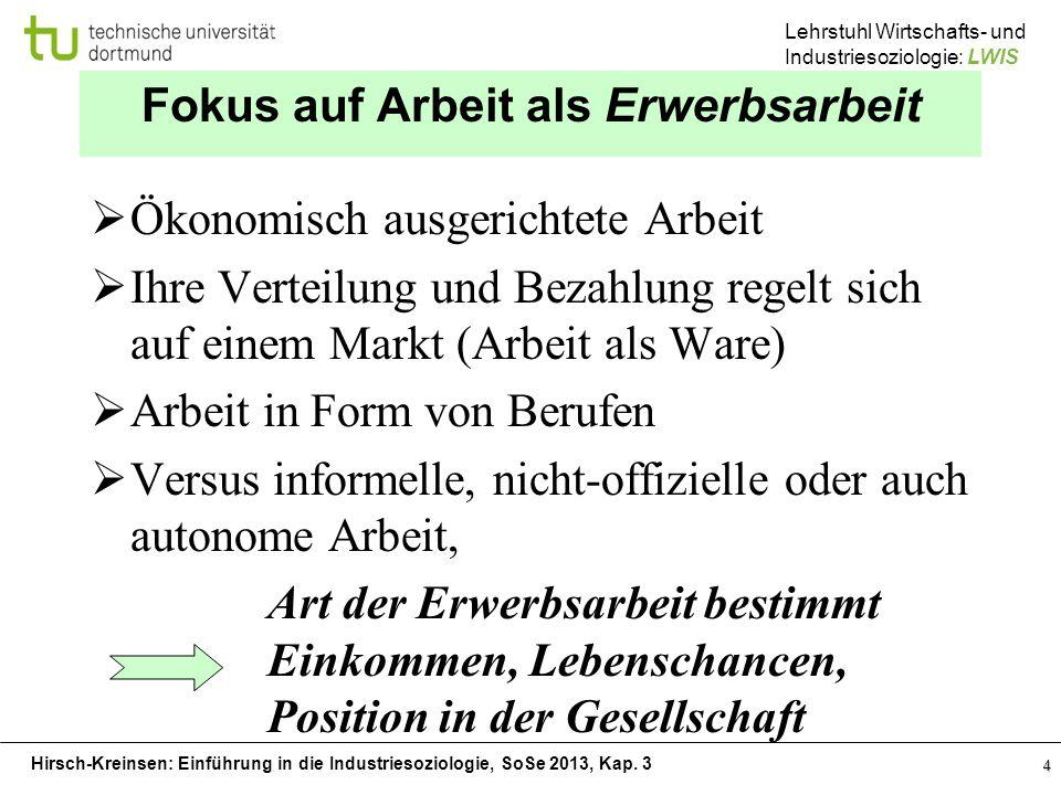 Hirsch-Kreinsen: Einführung in die Industriesoziologie, SoSe 2013, Kap. 3 Lehrstuhl Wirtschafts- und Industriesoziologie: LWIS 4 Fokus auf Arbeit als