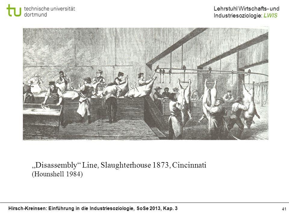 Hirsch-Kreinsen: Einführung in die Industriesoziologie, SoSe 2013, Kap. 3 Lehrstuhl Wirtschafts- und Industriesoziologie: LWIS 41 Disassembly Line, Sl