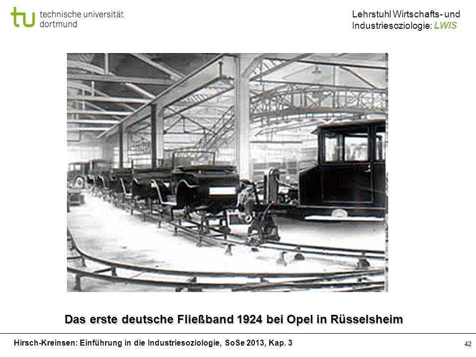 Hirsch-Kreinsen: Einführung in die Industriesoziologie, SoSe 2013, Kap. 3 Lehrstuhl Wirtschafts- und Industriesoziologie: LWIS 42 Das erste deutsche F