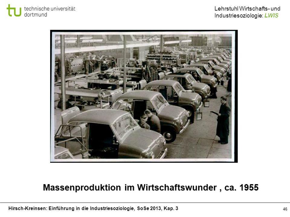 Hirsch-Kreinsen: Einführung in die Industriesoziologie, SoSe 2013, Kap. 3 Lehrstuhl Wirtschafts- und Industriesoziologie: LWIS 46 Massenproduktion im