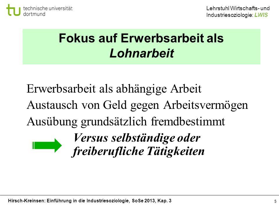 Hirsch-Kreinsen: Einführung in die Industriesoziologie, SoSe 2013, Kap. 3 Lehrstuhl Wirtschafts- und Industriesoziologie: LWIS 5 Fokus auf Erwerbsarbe