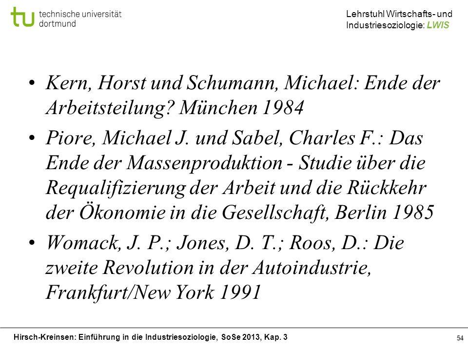 Hirsch-Kreinsen: Einführung in die Industriesoziologie, SoSe 2013, Kap. 3 Lehrstuhl Wirtschafts- und Industriesoziologie: LWIS Kern, Horst und Schuman