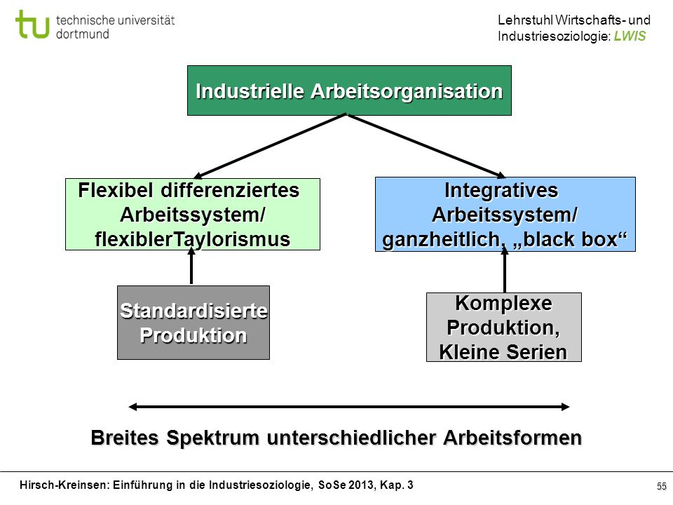 Hirsch-Kreinsen: Einführung in die Industriesoziologie, SoSe 2013, Kap. 3 Lehrstuhl Wirtschafts- und Industriesoziologie: LWIS 55 Industrielle Arbeits