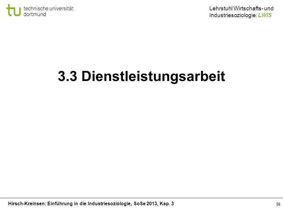 Hirsch-Kreinsen: Einführung in die Industriesoziologie, SoSe 2013, Kap. 3 Lehrstuhl Wirtschafts- und Industriesoziologie: LWIS 56 3.3 Dienstleistungsa