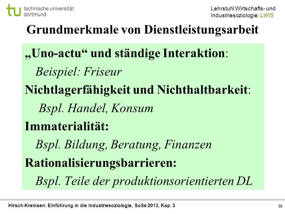 Hirsch-Kreinsen: Einführung in die Industriesoziologie, SoSe 2013, Kap. 3 Lehrstuhl Wirtschafts- und Industriesoziologie: LWIS 58 Grundmerkmale von Di