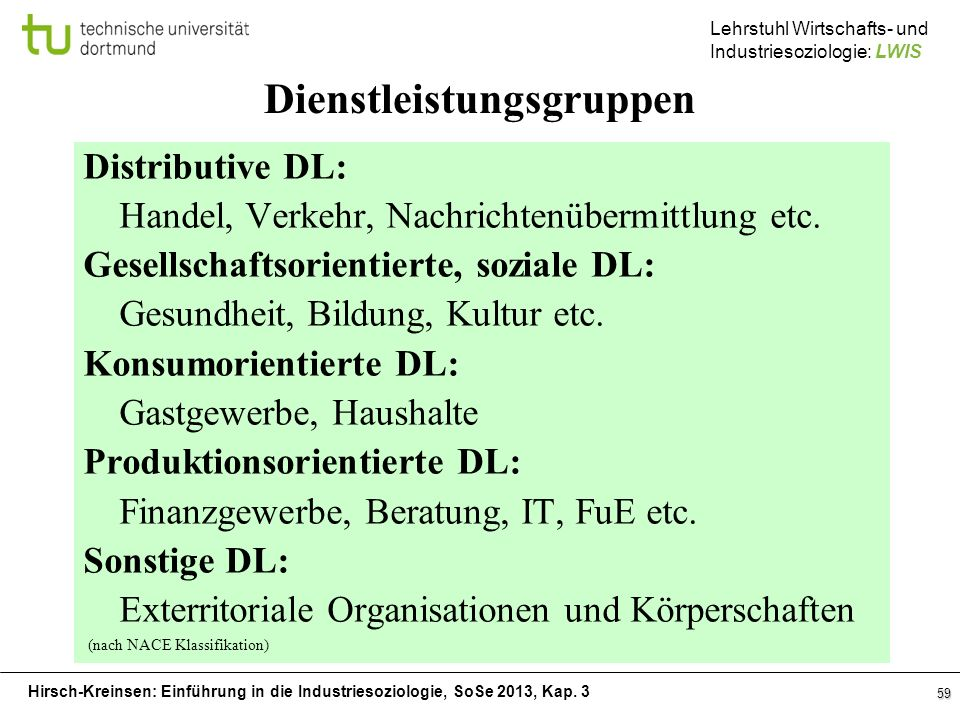 Hirsch-Kreinsen: Einführung in die Industriesoziologie, SoSe 2013, Kap. 3 Lehrstuhl Wirtschafts- und Industriesoziologie: LWIS 59 Dienstleistungsgrupp