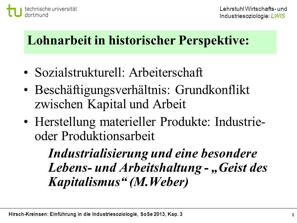 Hirsch-Kreinsen: Einführung in die Industriesoziologie, SoSe 2013, Kap. 3 Lehrstuhl Wirtschafts- und Industriesoziologie: LWIS 6 Lohnarbeit in histori