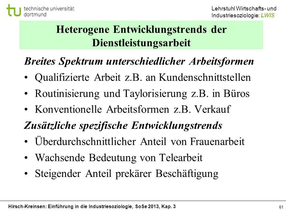 Hirsch-Kreinsen: Einführung in die Industriesoziologie, SoSe 2013, Kap. 3 Lehrstuhl Wirtschafts- und Industriesoziologie: LWIS 61 Heterogene Entwicklu