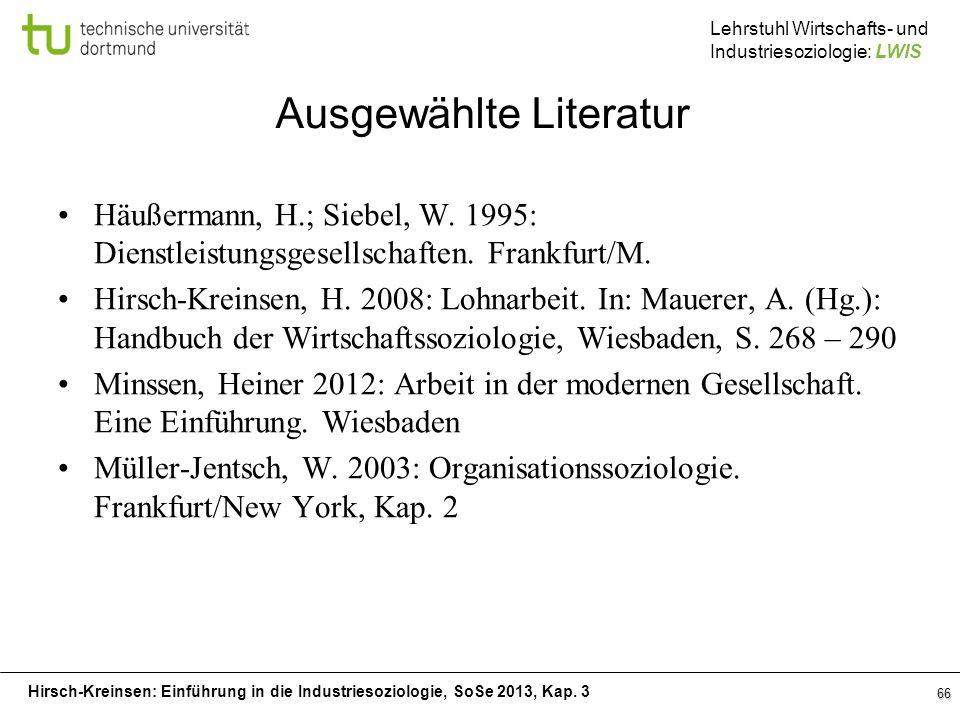 Hirsch-Kreinsen: Einführung in die Industriesoziologie, SoSe 2013, Kap. 3 Lehrstuhl Wirtschafts- und Industriesoziologie: LWIS 66 Ausgewählte Literatu