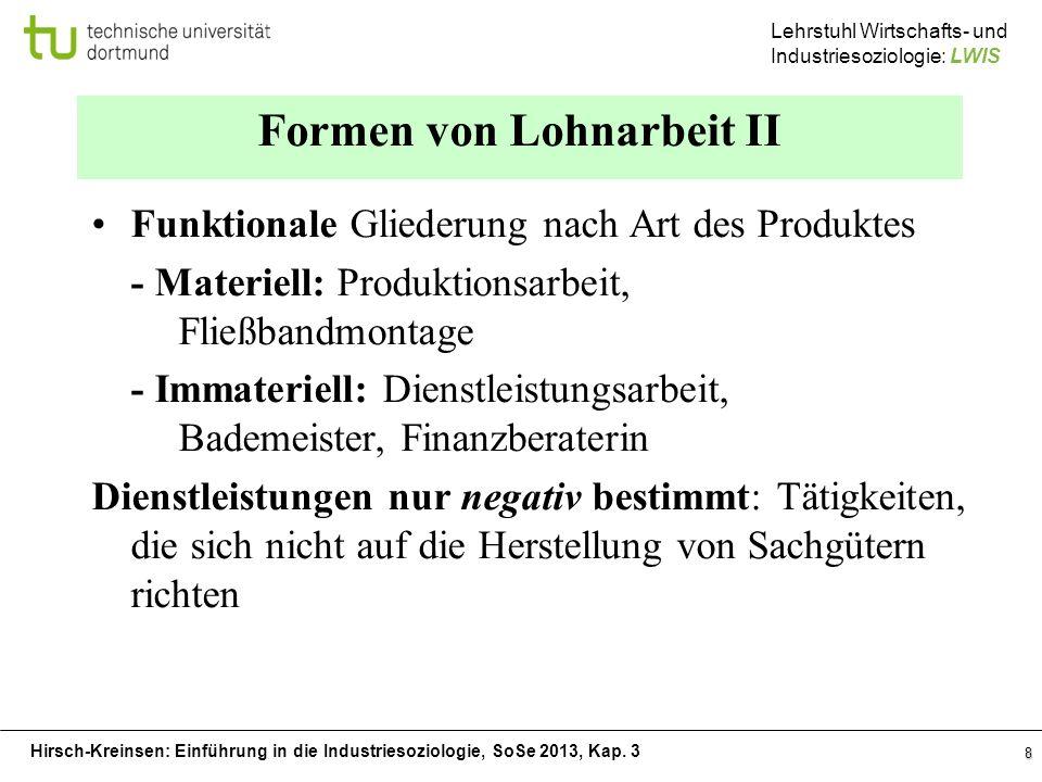 Hirsch-Kreinsen: Einführung in die Industriesoziologie, SoSe 2013, Kap. 3 Lehrstuhl Wirtschafts- und Industriesoziologie: LWIS 8 Formen von Lohnarbeit
