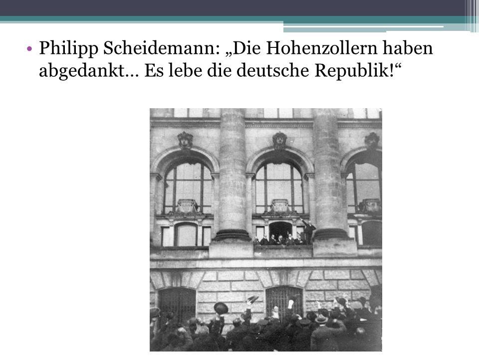 Philipp Scheidemann: Die Hohenzollern haben abgedankt… Es lebe die deutsche Republik!
