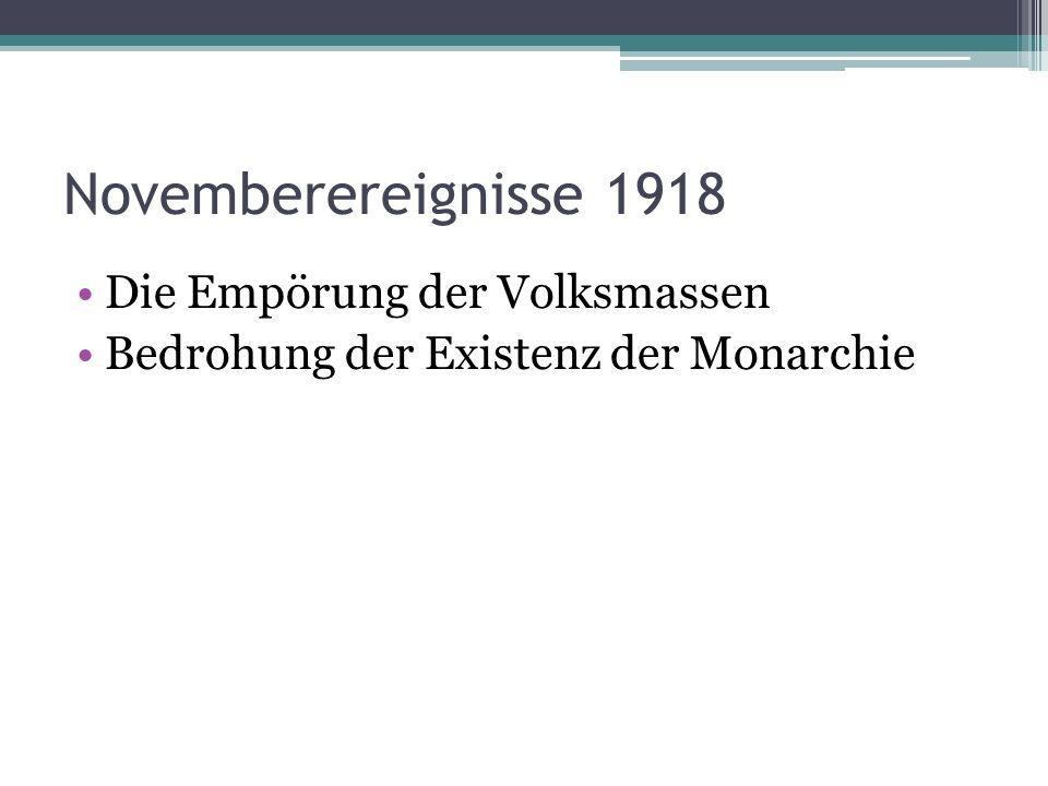 Ebert leitete die Regierung Ziele: Ehrenhafte Beendigung des Krieges Geordneter Übergang zum demokratischen Rechtsstaat Er einigte sich mit Generalfeldmarschall von Hindenburg Freikorps wurden gebildet, ihre Aufgabe war im Reich die kommunistischen Umsturzversuche zu unterdrücken