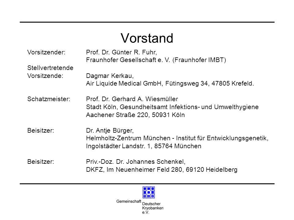 Vorstand Vorsitzender: Prof. Dr. Günter R. Fuhr, Fraunhofer Gesellschaft e. V. (Fraunhofer IMBT) Stellvertretende Vorsitzende:Dagmar Kerkau, Air Liqui