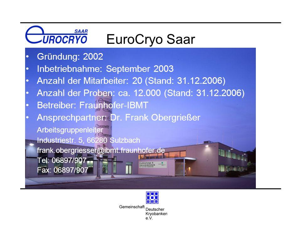 EuroCryo Saar Gründung: 2002 Inbetriebnahme: September 2003 Anzahl der Mitarbeiter: 20 (Stand: 31.12.2006) Anzahl der Proben: ca. 12.000 (Stand: 31.12