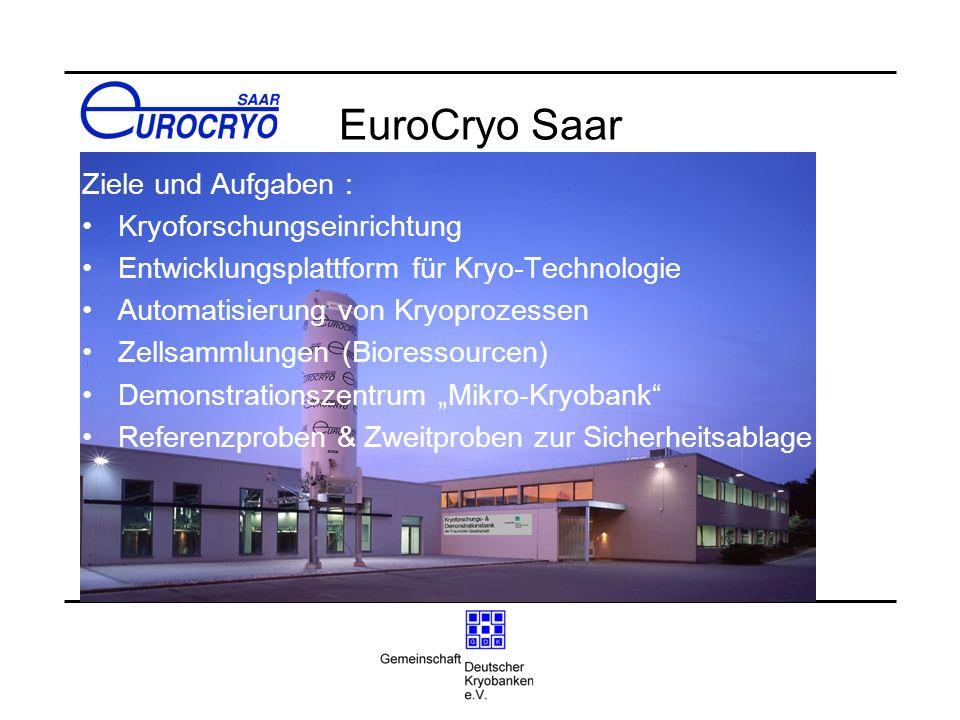 EuroCryo Saar Ziele und Aufgaben : Kryoforschungseinrichtung Entwicklungsplattform für Kryo-Technologie Automatisierung von Kryoprozessen Zellsammlung