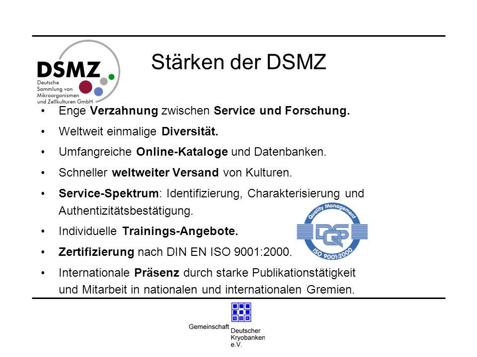 Stärken der DSMZ Enge Verzahnung zwischen Service und Forschung. Weltweit einmalige Diversität. Umfangreiche Online-Kataloge und Datenbanken. Schnelle