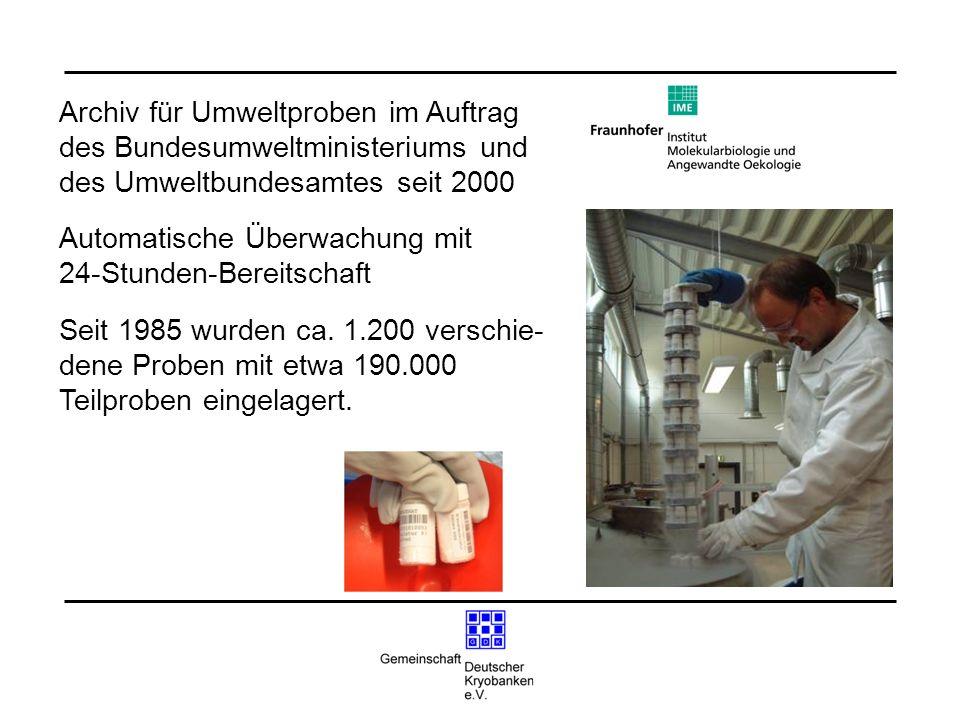 Archiv für Umweltproben im Auftrag des Bundesumweltministeriums und des Umweltbundesamtes seit 2000 Automatische Überwachung mit 24-Stunden-Bereitscha