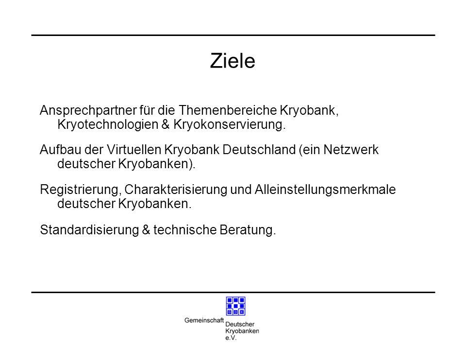 Ziele Ansprechpartner für die Themenbereiche Kryobank, Kryotechnologien & Kryokonservierung. Aufbau der Virtuellen Kryobank Deutschland (ein Netzwerk
