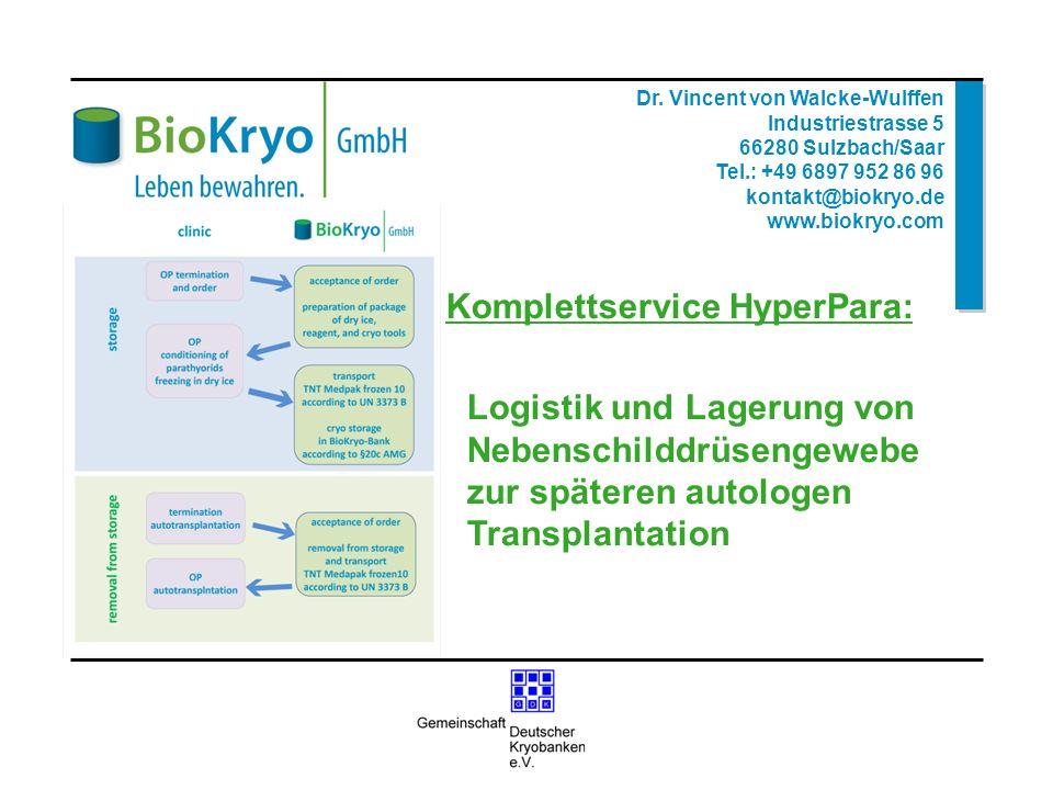 Komplettservice HyperPara: Logistik und Lagerung von Nebenschilddrüsengewebe zur späteren autologen Transplantation Dr. Vincent von Walcke-Wulffen Ind