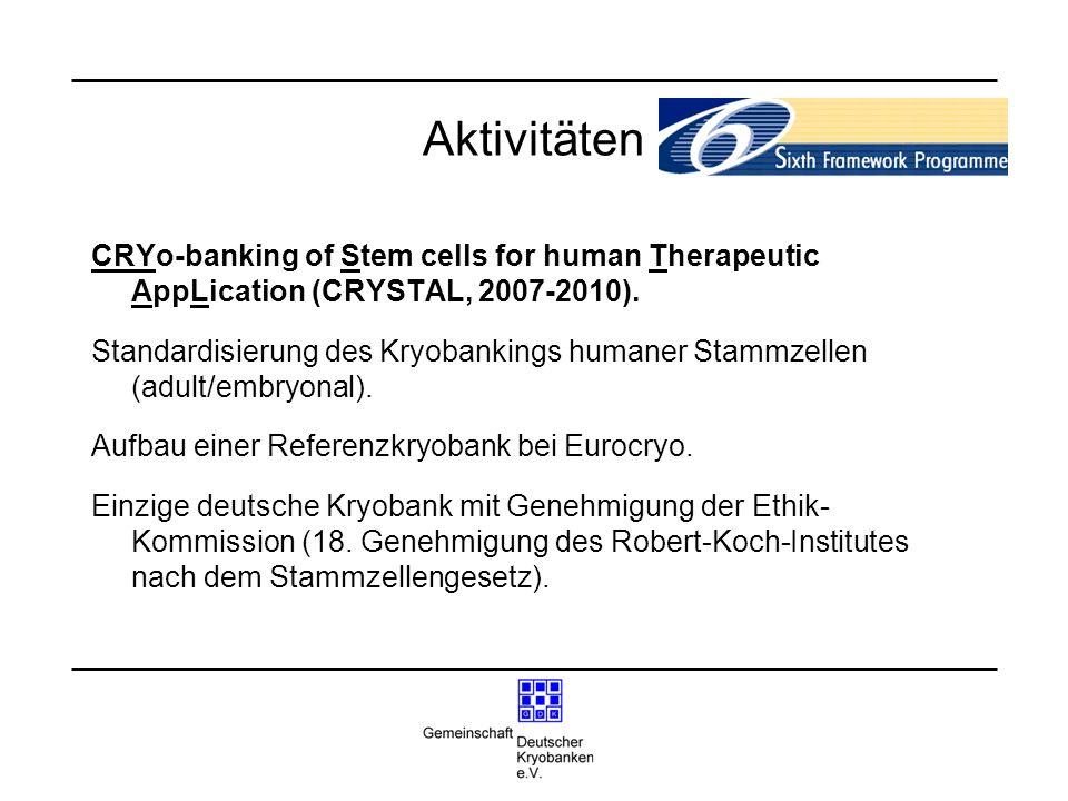 Aktivitäten CRYo-banking of Stem cells for human Therapeutic AppLication (CRYSTAL, 2007-2010). Standardisierung des Kryobankings humaner Stammzellen (