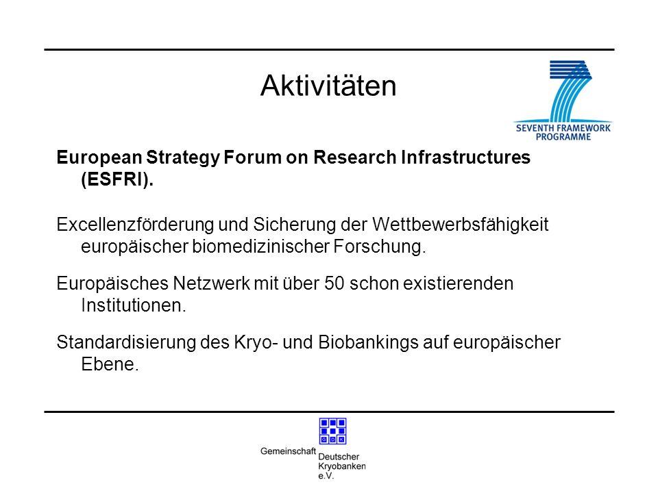 Aktivitäten European Strategy Forum on Research Infrastructures (ESFRI). Excellenzförderung und Sicherung der Wettbewerbsfähigkeit europäischer biomed