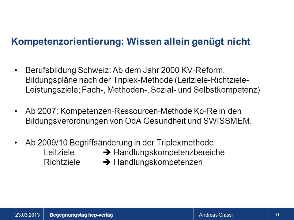 23.03.2013Andreas Grassi 6 Kompetenzorientierung: Wissen allein genügt nicht Berufsbildung Schweiz: Ab dem Jahr 2000 KV-Reform. Bildungspläne nach der