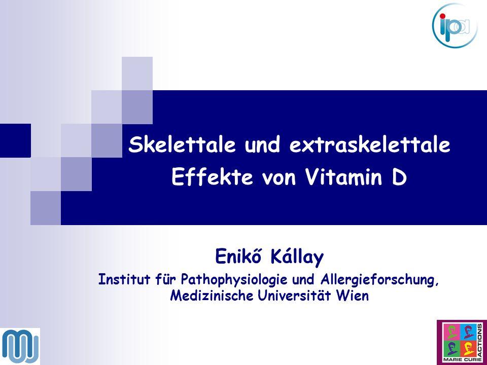 1,25(OH) 2 D 3 (Calcitriol) + Vitamin D Rezeptor Calcium Transport Kognitive Funktionen Immunsystem Muskuloskelettales System BIOLOGISCHE EFFEKTE DES VITAMIN D Kreislaufsystem Endokrines System Reguliert zelluläre Proliferation, Differenzierung und Apoptose